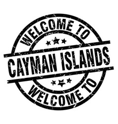 welcome to cayman islands black stamp vector image vector image