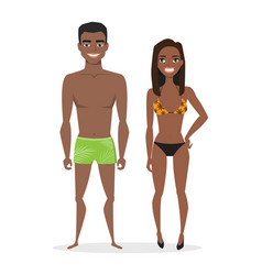 young black african american couple in beach vector image