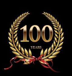 100 years anniversary laurel wreath vector image vector image