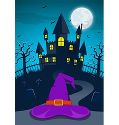 Halloween night background with witch hat vector