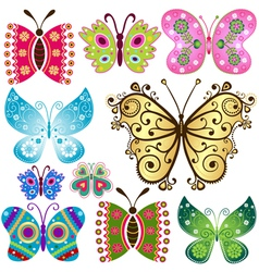 Set fantasy colorful vintage butterflies vector image