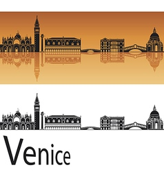 Venice skyline in orange background vector image