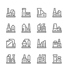 set line icons of factory vector image