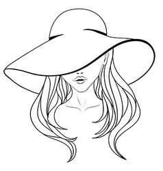 Young girl in a hat vector