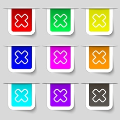 Cancel icon sign set of multicolored modern labels vector