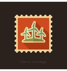Windmill retro flat stamp with long shadow vector