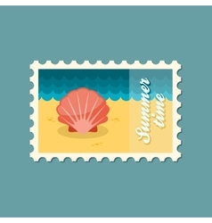 Seashell flat stamp vector