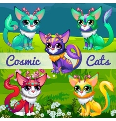 Unusual with cosmic cats vector