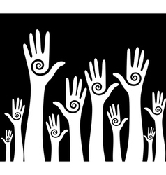 Hands up background vector