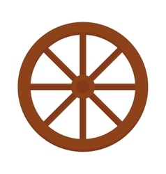 Old wooden vintage wheel from cart transportation vector