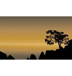Scenery beach of silhouette vector image