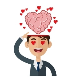 Person with open head and heart shaped brain vector