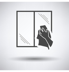 Hand wiping window icon vector
