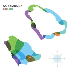 Abstract color map of Saudi Arabia vector image vector image