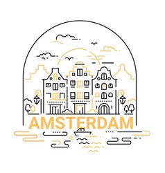 Amsterdam - modern line travel vector