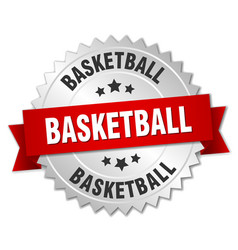 basketball 3d silver badge with red ribbon vector image vector image