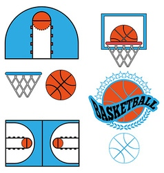 Basketball game objects icons vector