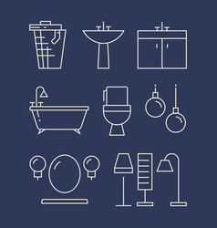 bathroom furniture and accessories line icons set vector image vector image