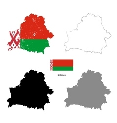 Belarus country black silhouette and with flag on vector image vector image