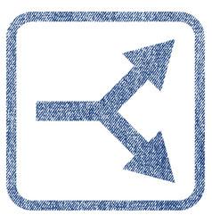 Bifurcation arrow right fabric textured icon vector