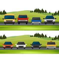 Cars parking on the road vector image