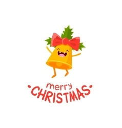 Cheerful christmas card with bell vector