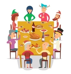 Christmas group friends family eat meal characters vector