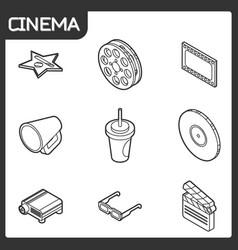 cinema outline isometric icons vector image