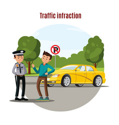 colorful traffic violation concept vector image vector image