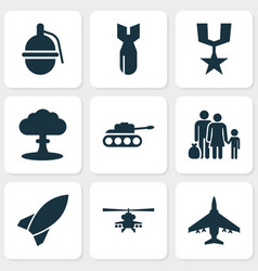 Combat icons set collection of aircraft vector