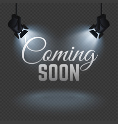 Coming soon concept with spotlights on stage vector