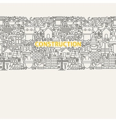 Construction Line Art Seamless Web Banner vector image vector image