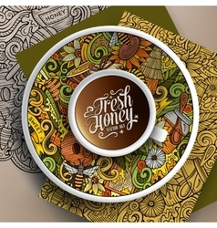 Cup of coffee honey doodles on a saucer paper and vector