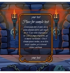 Fireplace with torches and frame for sample text vector