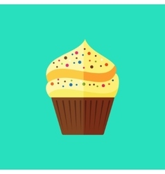 flat cupcake vector image vector image