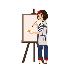 flat woman artist painter drawing on easel vector image