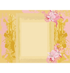 Grunge Frame For Congratulation With Flower vector image
