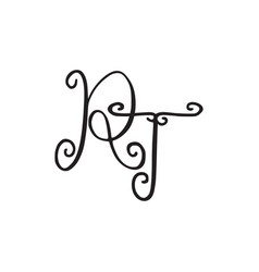 Handwritten monogram rt icon vector