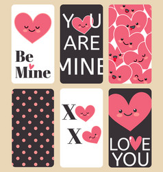 Happy valentines day greating card set i love you vector