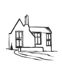 house sketch hand drawn cartoon vector image vector image