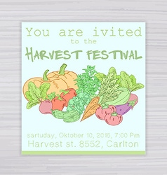 Invitation for harvest festival with vegetables - vector