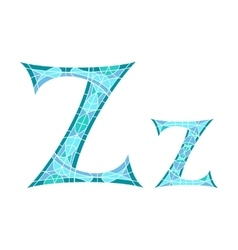 Low poly letter z in blue mosaic polygon vector