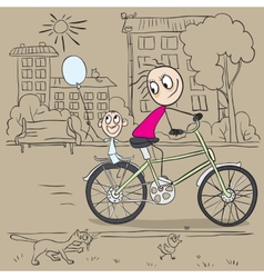 Mother and child riding a bicycle vector