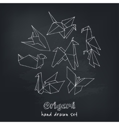 Origami hand drawn doodle set vector image