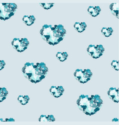 Seamless pattern with hearts from watercolor blurs vector