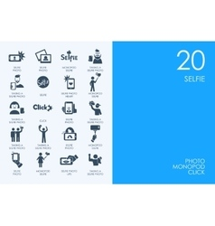 Set of blue hamster library selfie icons vector
