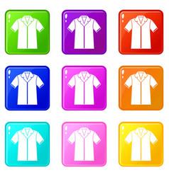 Shirt polo set 9 vector
