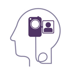 Silhouette profile human head with video camera vector
