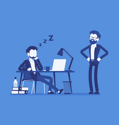 Sleep at office work vector