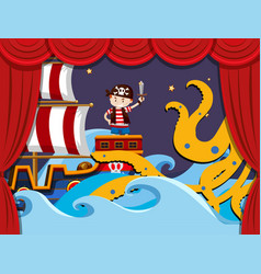Stage play with pirate fighting kraken vector